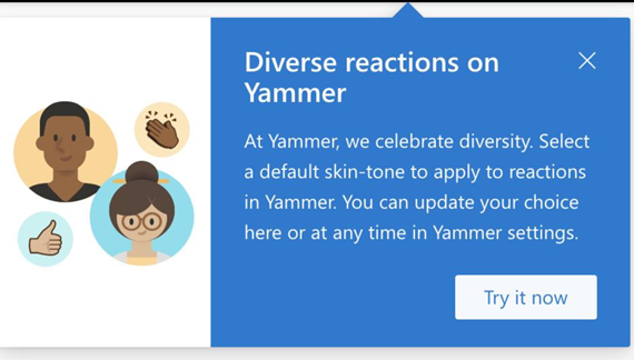 Screenshot showing a dialog box that notifies user that diverse reactions are available and how to set them