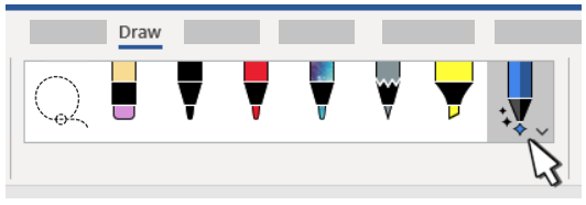 Image shows pens, pencils, highlighter available in Word.