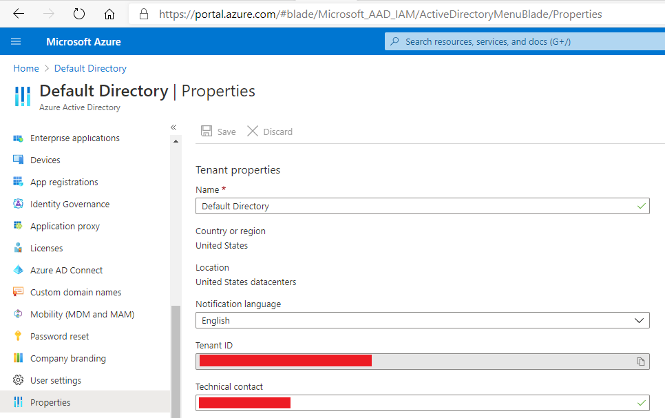 Get TenantId from the Properties tab on the Azure Active Directory Blade