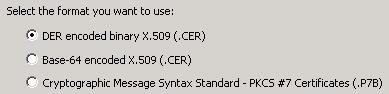 Select Certificate export format