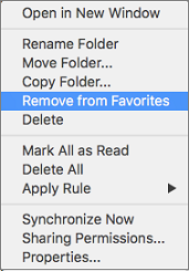 Remove From Favorites option on context menu