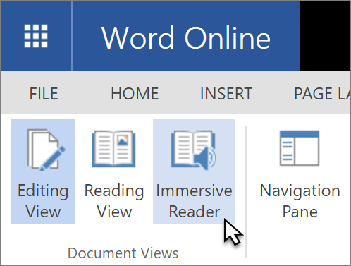 Open Learning Tools in Word Online by selecting the View tab