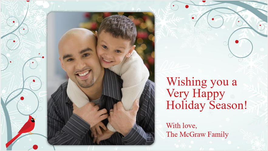 Image of a holiday photo card with a father and son