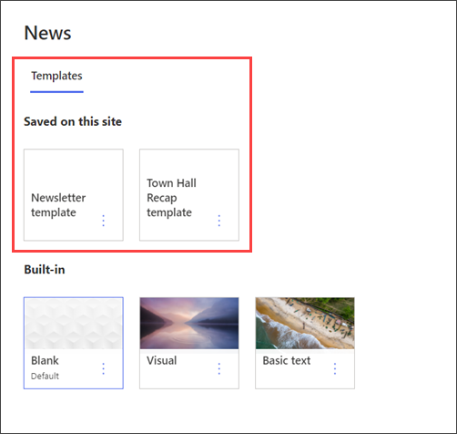 Image of the page template picker the department site