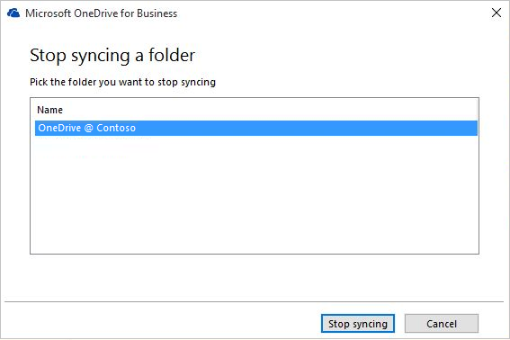 Screenshot of stop syncing a folder dialog box