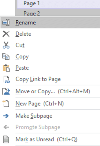 Rename a page in OneNote for Windows dialog