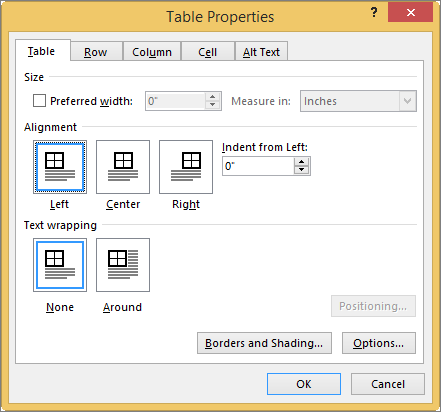 Table tab in the Table Properties dialog box