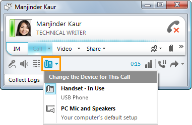 Audio Device settings - Lync