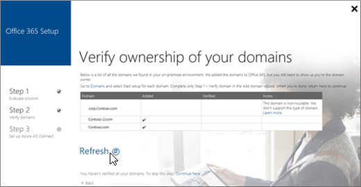 After you verify your domains, choose Refresh