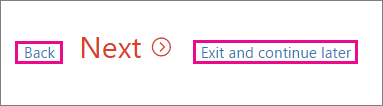 Close the wizard by clicking Exit and continue later link