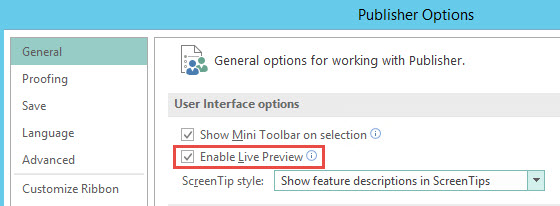 Enable Live Preview feature in Publisher 2016