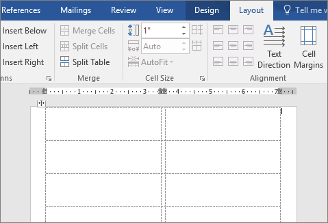 A Page Of Blank Labels In Word 2016  Format Labels In Word