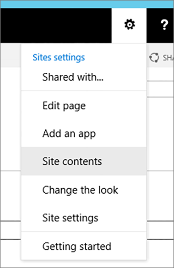 Settings menu with Site Contents highlighted