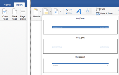how to create different headers on each page in word mac