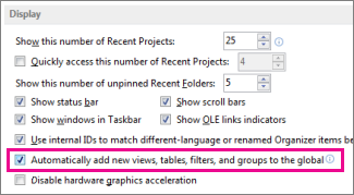 "The ""Automatically add new views, tables, filters, and groups to the global"" option"