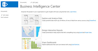 The home page of a Business Intelligence Center site in SharePoint Online