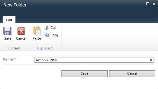 SharePoint 2010 New Folder dialog.