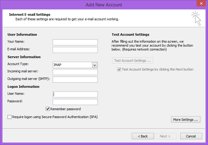 Outlook 2010 Internet Email Settings