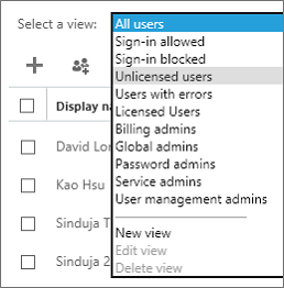 From the Select a view list, select the unlicenced users view.