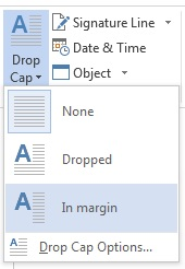 In the Drop Cap menu, choose In margin to drop the cap in the margin and not in the paragraph.