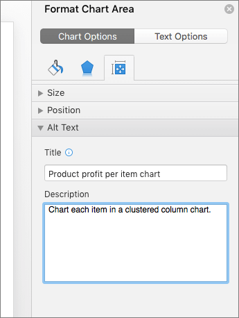 Screenshot of the Format Chart Area pane with the Alt Text boxes describing the selected chart