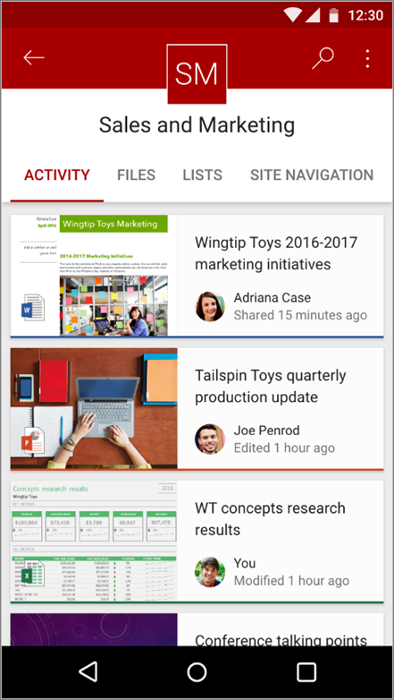 Screen shot of Android mobile app showing site activity, file, lists, and navigation