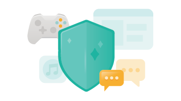 Illustration of a shield, a music app, text messages and a game controller