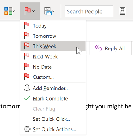 Flagging a message for follow-up in Outlook