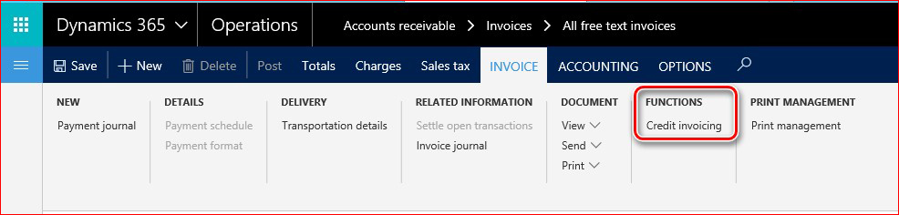This image shows how to find the Credit invoicing functionality.