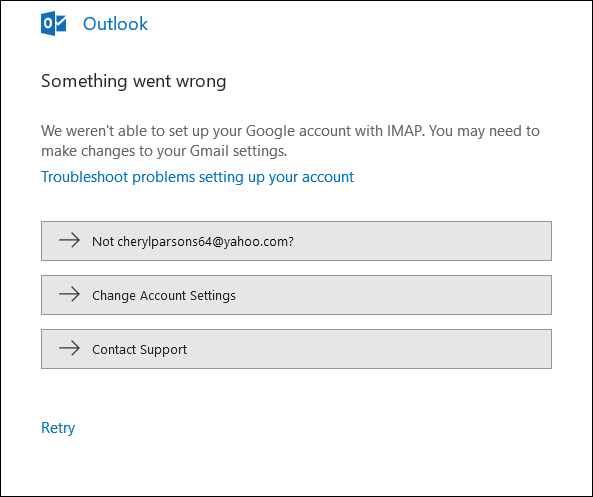 Something went wrong adding an email account to Outlook.