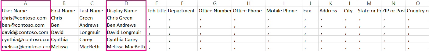 A sample CVS file that has blank rows specified