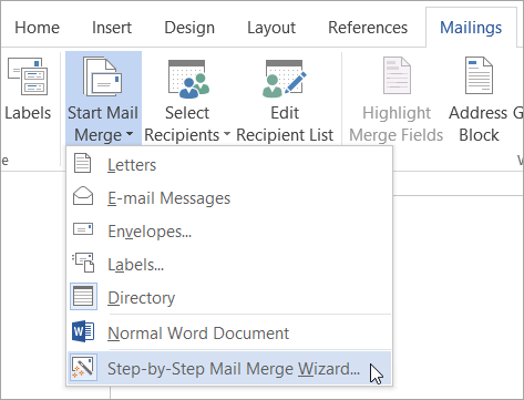 Starting the Mail Merge Wizard
