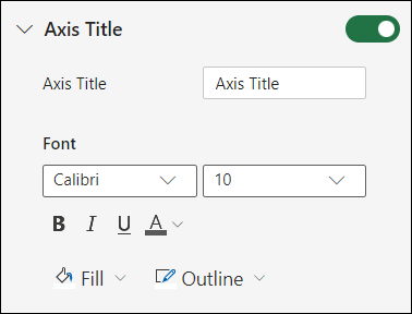 Chart Axis Options for Excel for the web