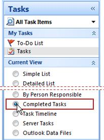 Navigation Pane with Completed Tasks selected for the current view