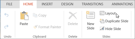 Screenshot shows the Home tab with the cursor pointing to the Layout option in the Slides group.