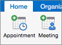 Appointment and Meeting buttons