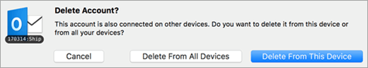 A screenshot of the Delete Account dialog,