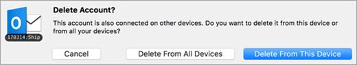A screenshot of the Delete Account dialog,