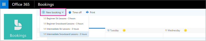 New Bookings button on the Bookings Calendar page