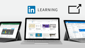 Shows a LinkedIn Learning card with a symbol. The symbol shows that you'll leave support.office.com and see LinkedIn Learning content on their site next.