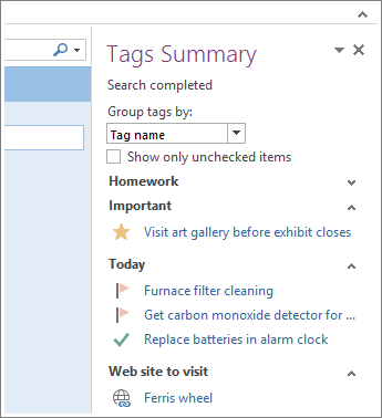 You can see tasks at a glance in the Tags Summary.
