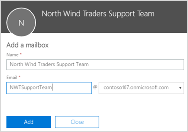 Create shared mailbox in admin center preview
