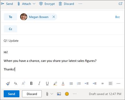 Composing a new email in Outlook on the web