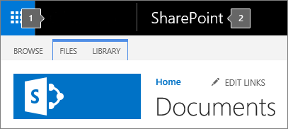 SharePoint Online Classic mode upper left corner showing app launcher and title