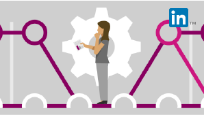Shows a card with an illustration of a woman holding a device, standing in front of gears and schematic lines. Represents the course called Office 365: Troubleshoot Availability and Usage.