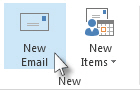 New Email command on the ribbon