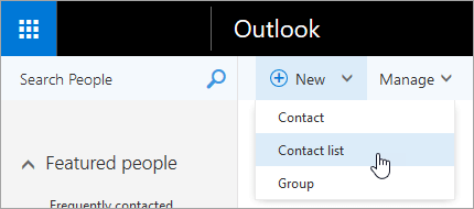 A screenshot of the context menu for the 'New' button, with 'Contact list' selected.