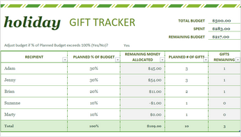 Image of holiday gift list template in Excel