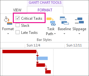 Critical tasks check box on the ribbon and highlighted Gantt bars