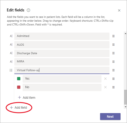 Image focuses on + Add field in the Microsoft Teams Patients app